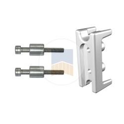 Insert en aluminium taraudé pour tube de 30x30 de régulateur de pente en applique ou de cadre intégré.