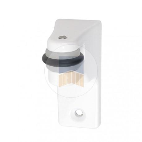 Support en Aluminium avec galet de recentrage pour serrure de portail coulissant à encastrer, en applique ou derrière le cadre.