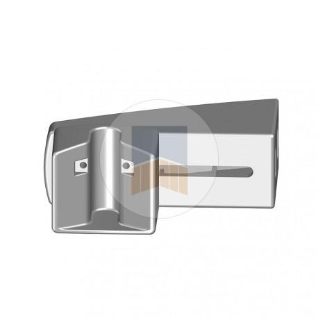 Boîtier V de réception en applique en Aluminium pour serrure de portail coulissant motorisé.