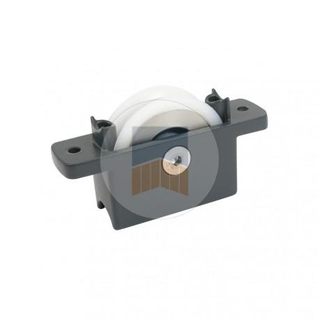 Galet en Inox gorge V sur chape compacte Zamak à encastrer ou en applique.